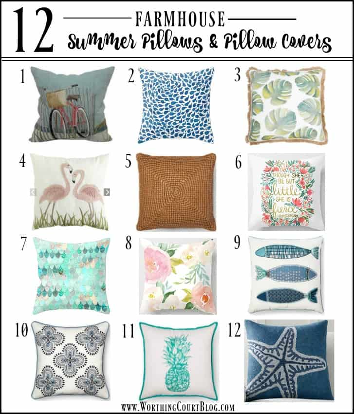 A fabulous collection of 12 affordable summer throw pillows and pillow covers that will fit with any decor style || Worthing Court
