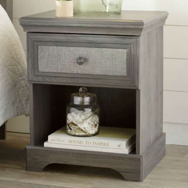 A great looking fabric detail on the drawer-front of this very affordable nightstand || Worthing Court