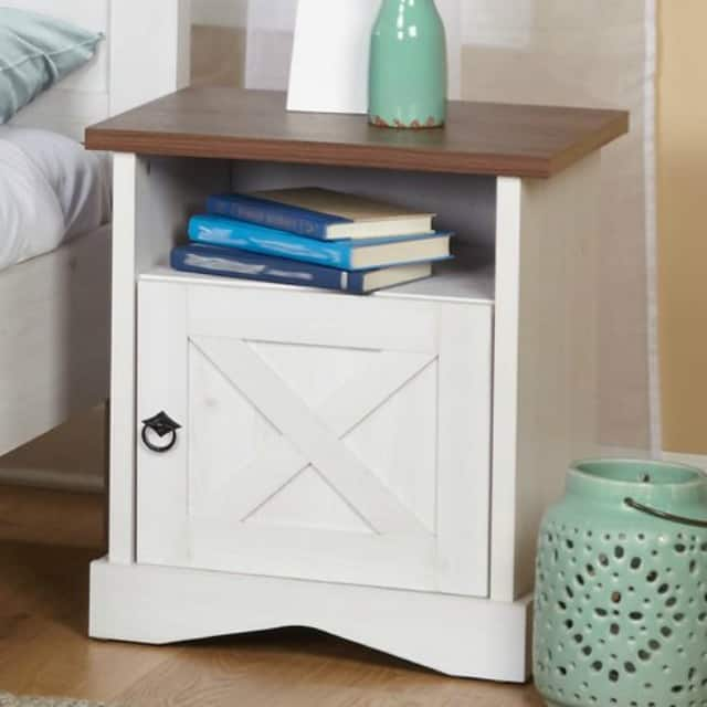 I love the X detail and hardware on this nightstand, plus the wood stained top || Worthing Court