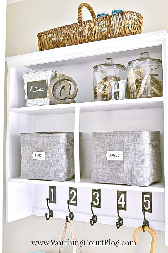 The top of an old hutch makes a great piece to re-purpose into a dropzone for coats and backpacks || Worthing Court