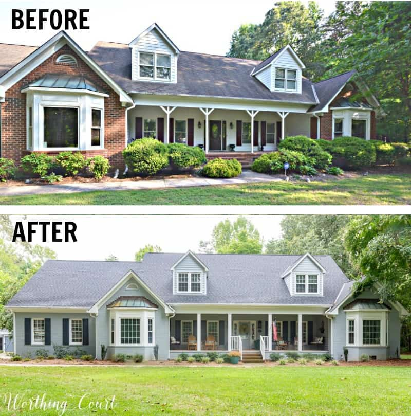 red brick ranch house before and after painting gray