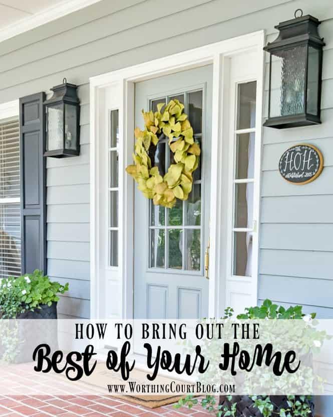front door with magnolia wreath
