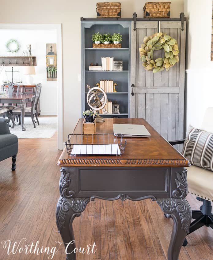 Living room turned into a farmhouse style office in a suburban house || Worthing Court