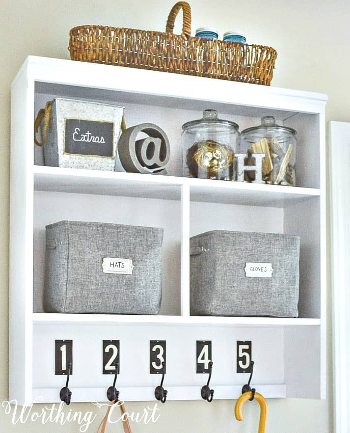 The top half of an old hutch makes a great piece for turning into a dropzone when you don't have any place available for a mudroom || Worthing Court