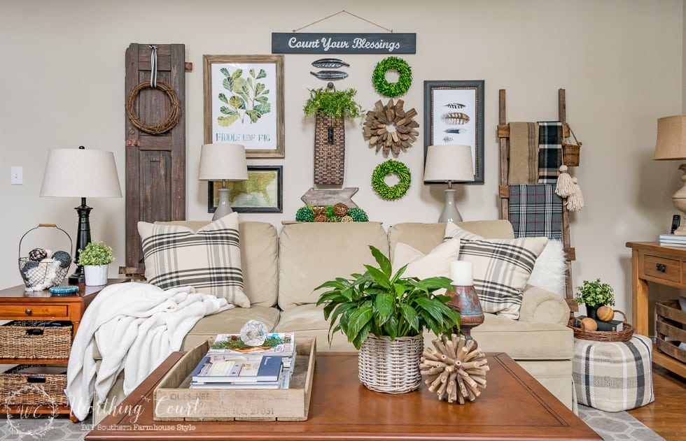 A farmhouse style gallery wall filled with a mix of textures, shapes and color || Worthing Court
