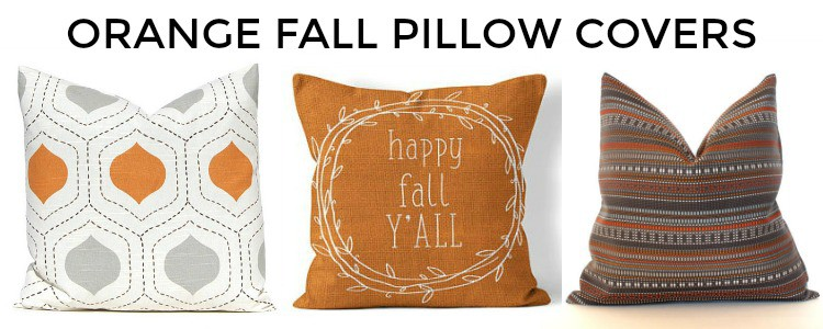 Great assortment of orange fall throw pillow covers #falldecor #pillows || Worthing Court