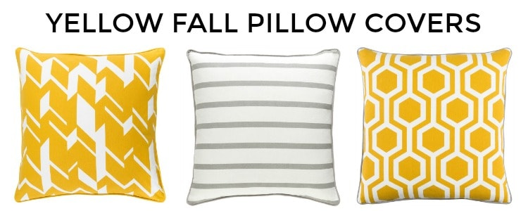 Great assortment of yellow fall throw pillow covers #falldecor #pillows || Worthing Court