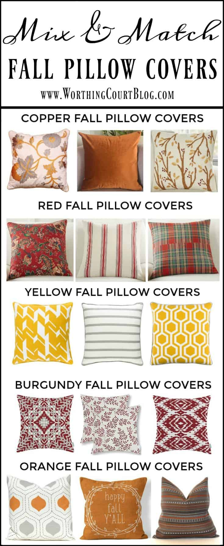 A great variety of fall throw pillow covers to mix and match #falldecor #pillows || Worthing Court
