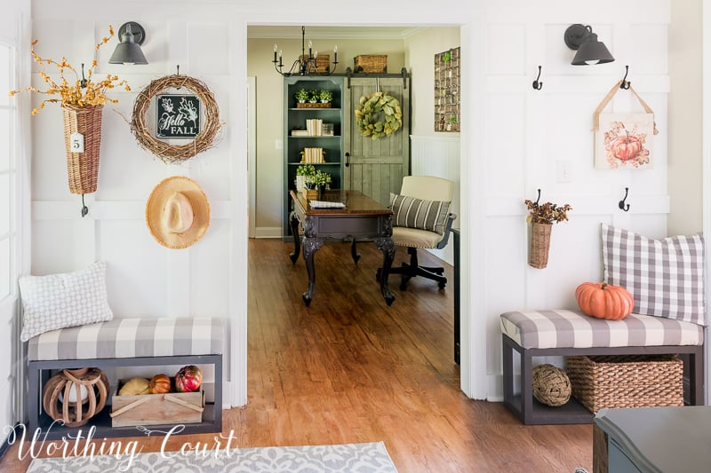 Board and batten wall with fall accessories hanging from hooks
