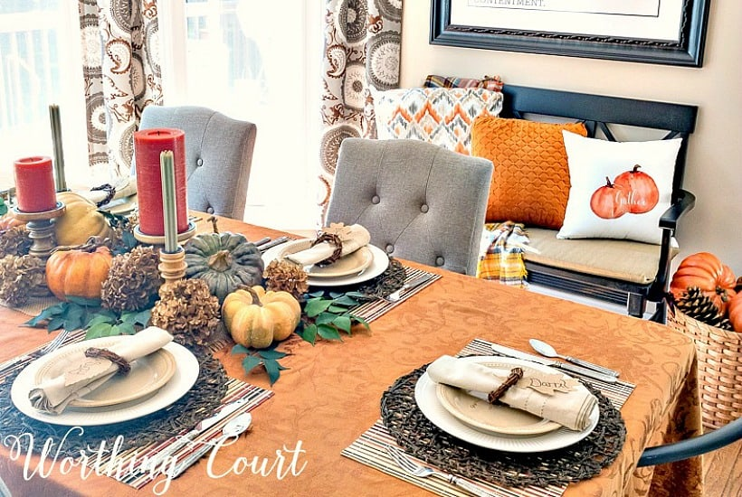 thanksgiving tablescape with traditional fall colors