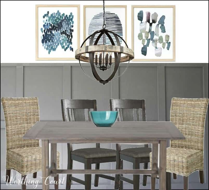 Modern farmhouse dining room, gray board and batten, rustic chandelier, affordable art
