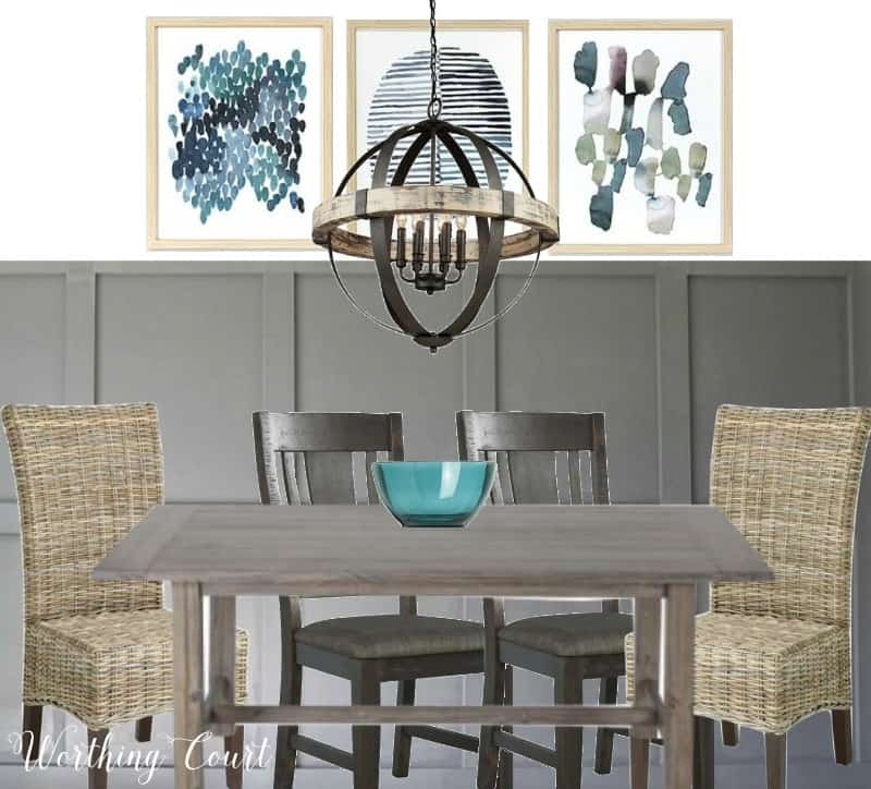 Rustic chandelier mixed with modern farmhouse dining room style || Worthing Court