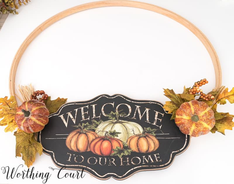 Step by step directions for how to make a fall hoop wreath #FallWreath #DIY #EmbroideryHoop - Worthing Court