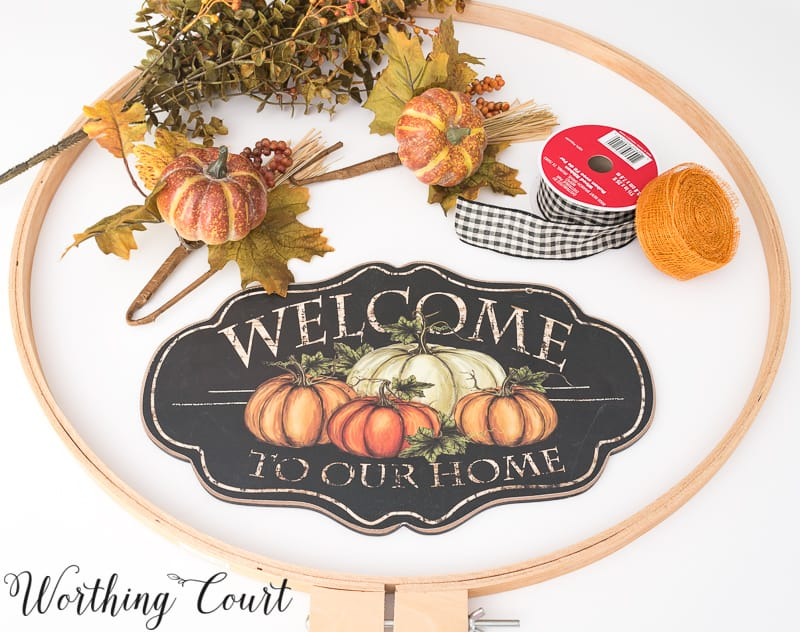 DIY Fall Hoop Wreath Supplies #FallWreath #Autumn #Crafts - Worthing Court