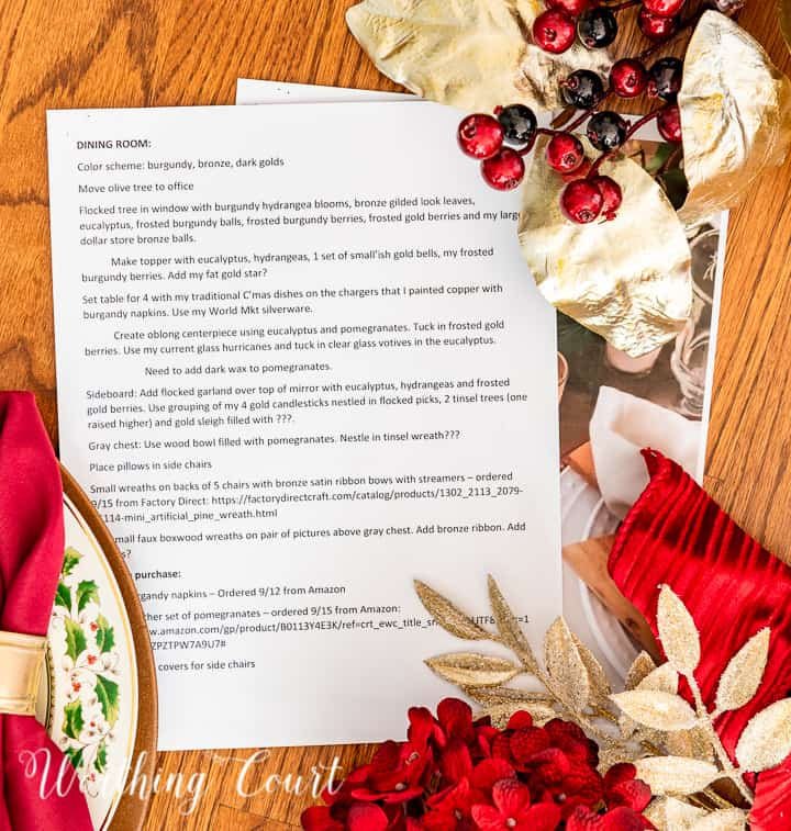 picture of word document with Christmas decorating plans surround by burgundy and gold decorations