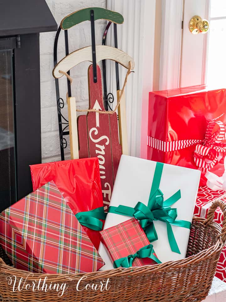 basket filled with wrapped gifts