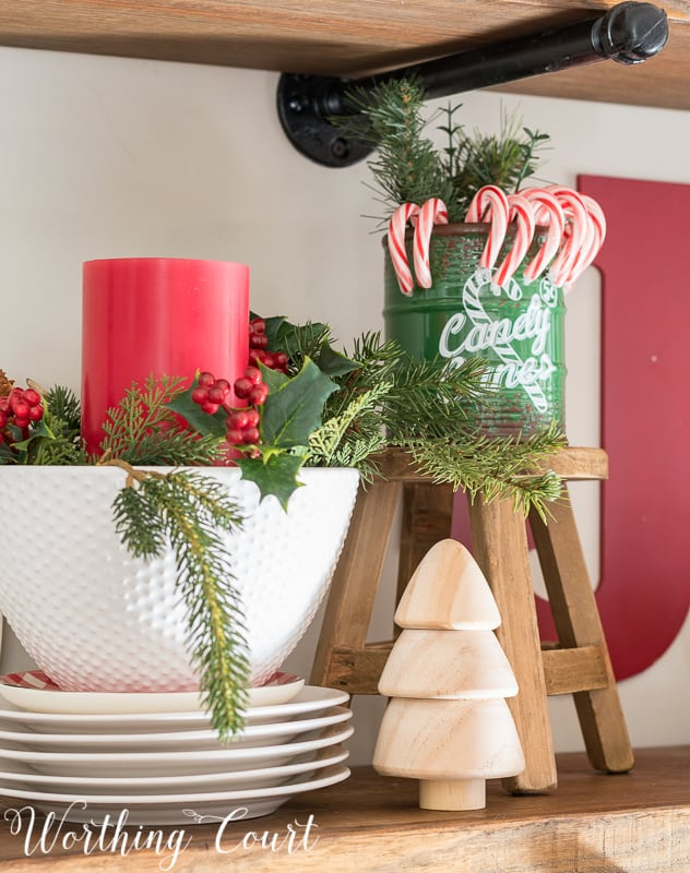 Red and green Christmas vignette #christmas #christmasdecor #candycanes