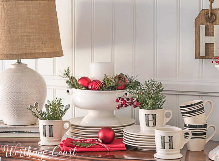 black and white dishes with red Christmas decor