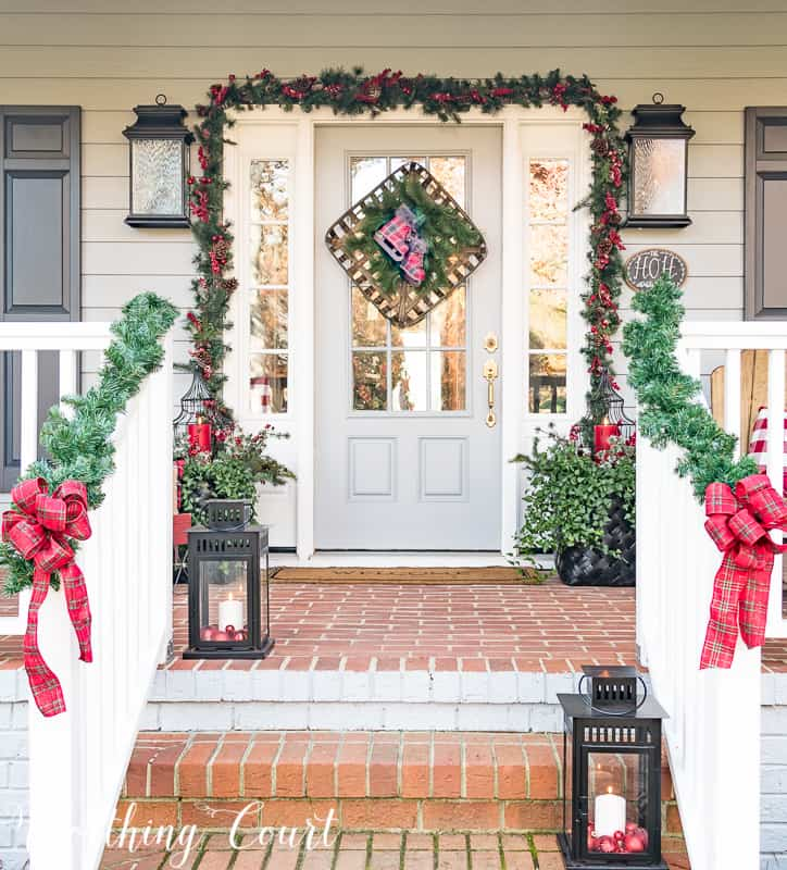 welcome to my festive and cheery christmas front porch christmas outdoorchristmasdecor christmasporch