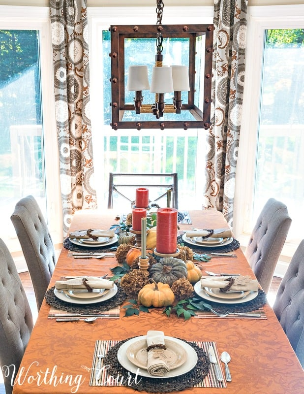 Thanksgiving tablescape using everyday dinnerware
