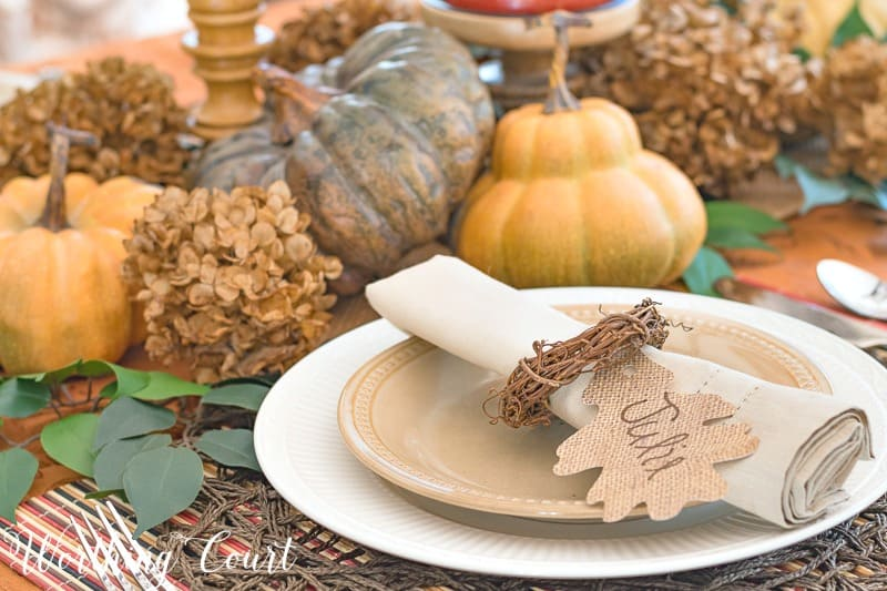 Dried hydrangeas make a great filler for a Thanksgiving centerpiece