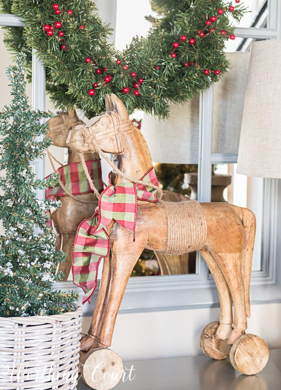 Wooden horse with silk ribbon for Christmas #christmasdecor