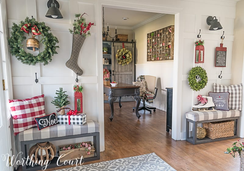 Board and batten wall with Christmas decor #christmasdecor #boardandbatten