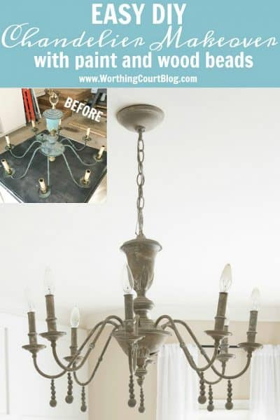 before and after of a chandelier makeover