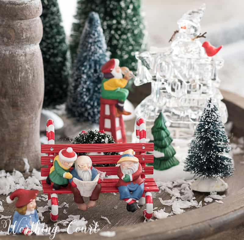 Christmas snow village on a farmhouse wooden two tiered tray #christmasdecor