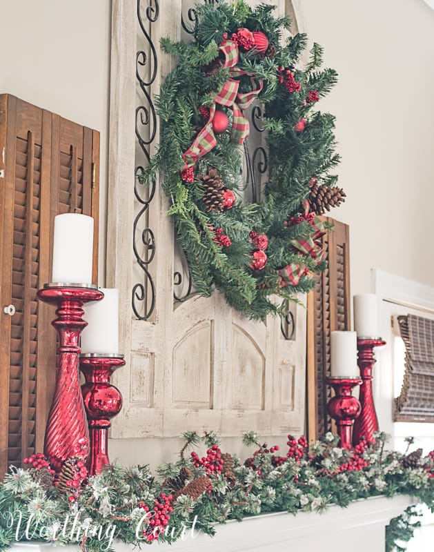 Fireplace mantel decorated for Christmas #christmasdecor