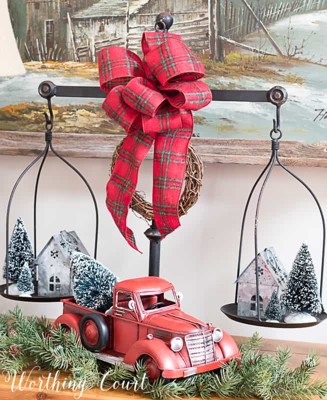 Red truck hauling a Christmas tree #christmasdecor