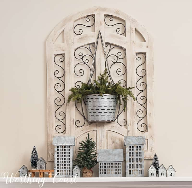 Winter fireplace decor, tin houses, farmhouse style