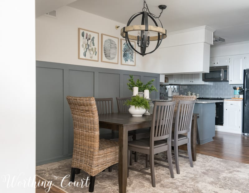 Small dining room makeover, modern farmhouse style, orb chandelier, rustic industrial, board and batten