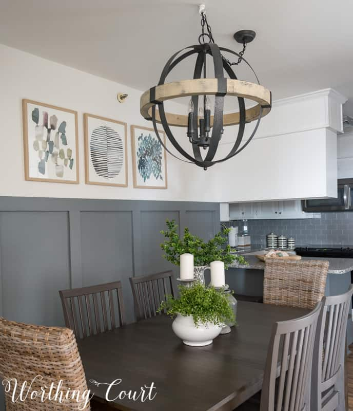 Statement chandelier in a small dining room, rustic industrial, modern farmhouse, orb chandelier