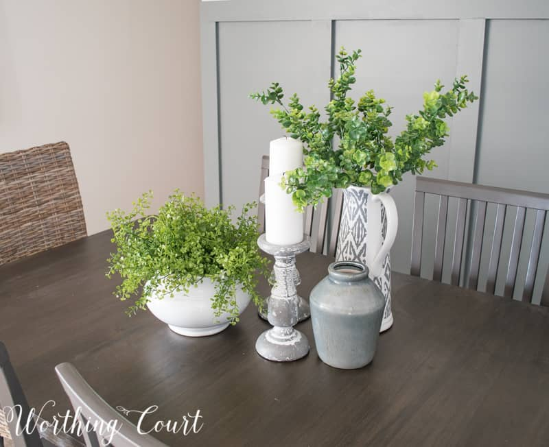 Modern farmhouse style dining room table centerpiece, faux greenery