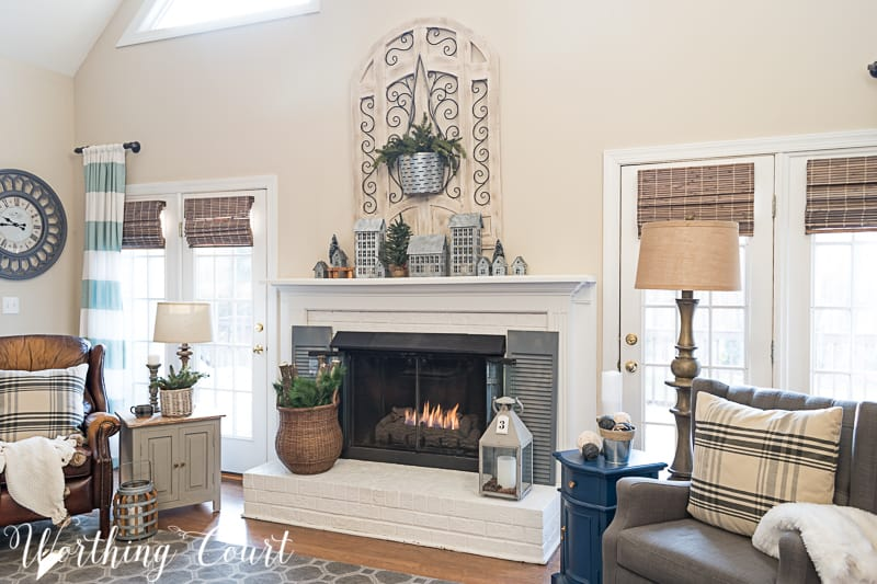 Winter fireplace decor, white painted brick fireplace, farmhouse decor,