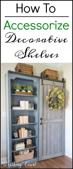 How To Get A Cohesive Look When You Accessorize Decorative Shelves #bookcase #shelves #howtodecorate