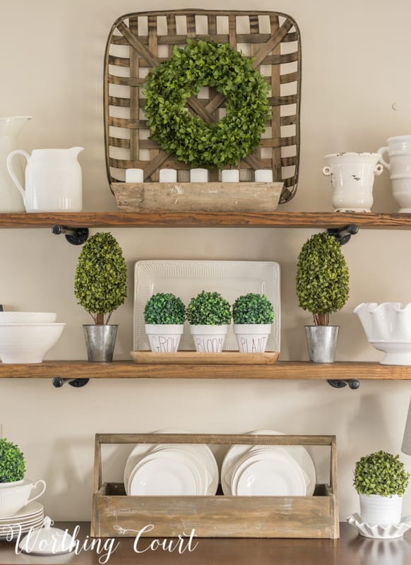 Spring decorations on open shelves. #spring #springdecor #shelfdecor