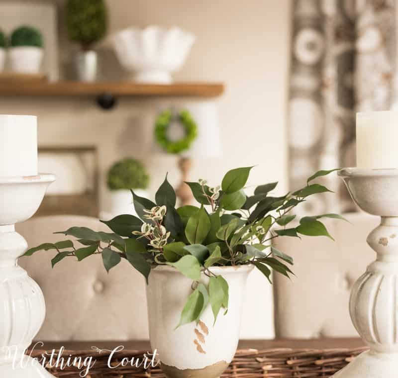 Spring centerpiece #springdecor #fauxgreenery #centerpiece