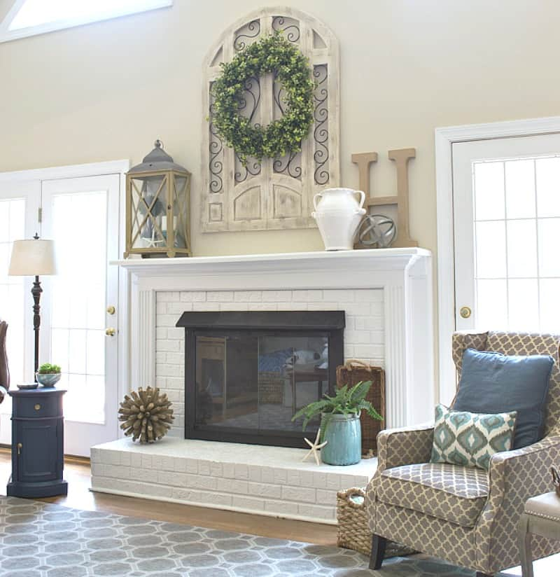 Shop My Family Room #fireplace #paintedfireplace #paintedbrick