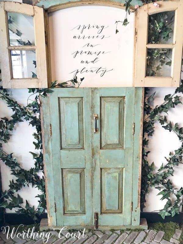 Salvaged door used for wall decor #magnoliamarket #fixerupper #repurpose #upcycle #diy