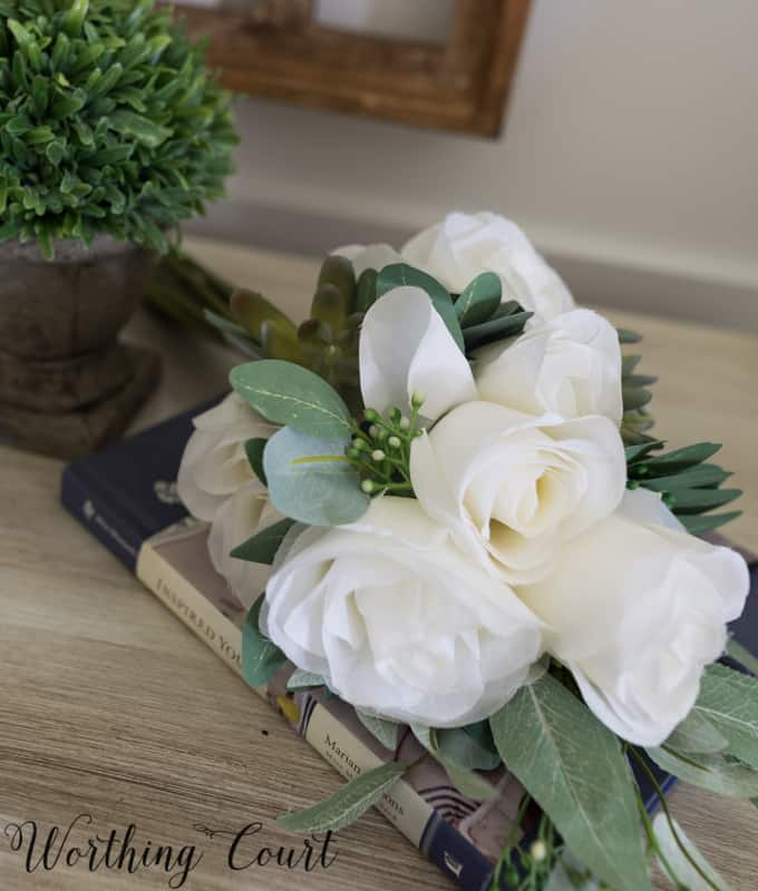 faux white roses