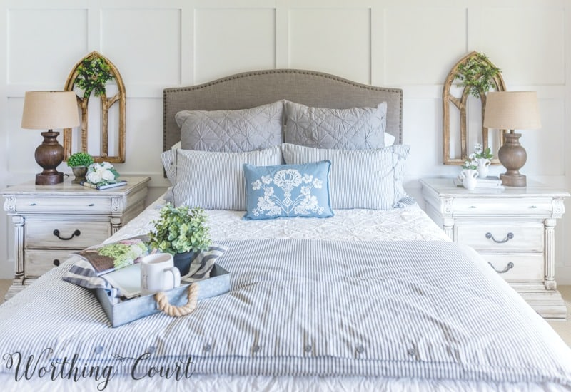 Farmhouse style bedding #fixerupper #farmhousestyle #bedroom