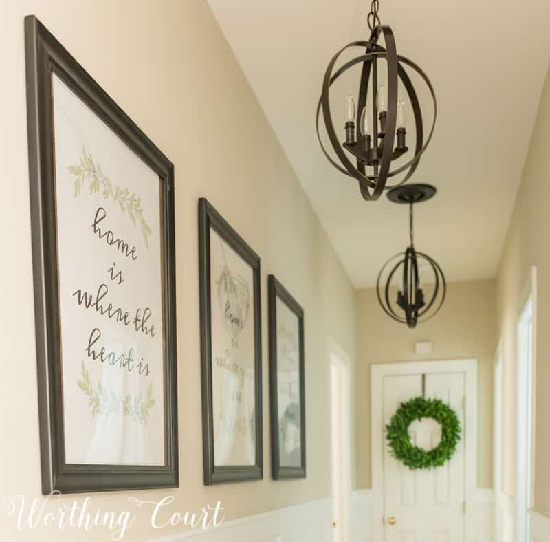Long, Dark Hallway Makeover Reveal #beforeandafter #diy #makeover #hallway