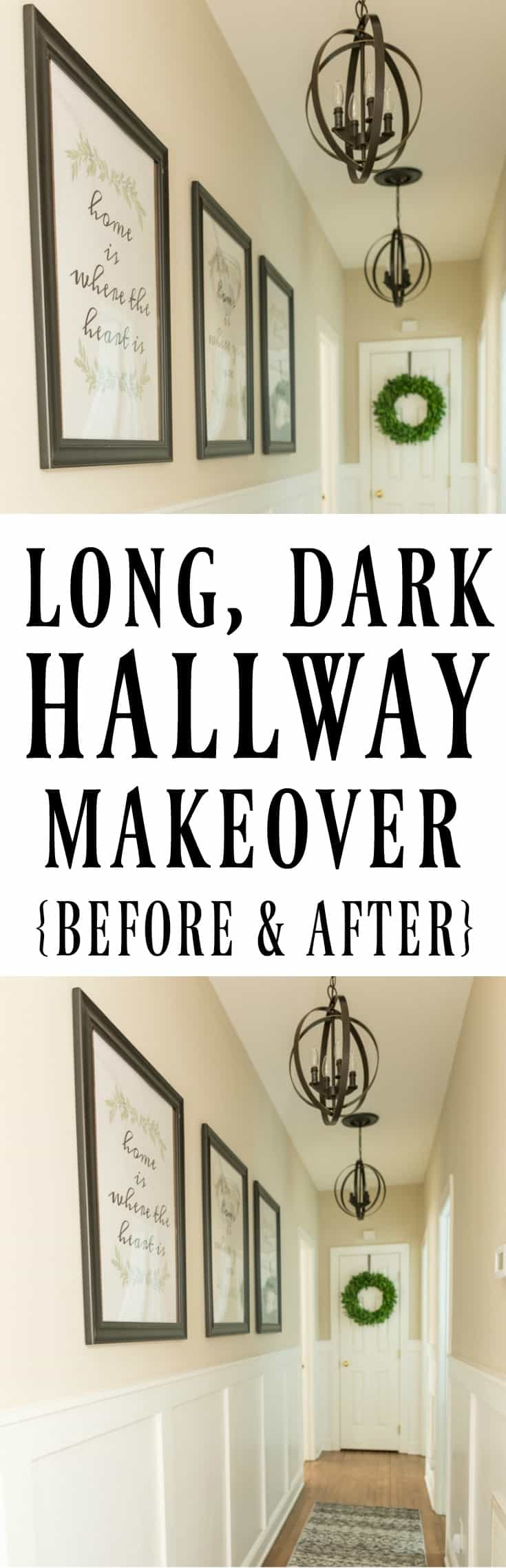 Long, Dark Hallway Makeover Before And After #makeover #hallway #farmhouse