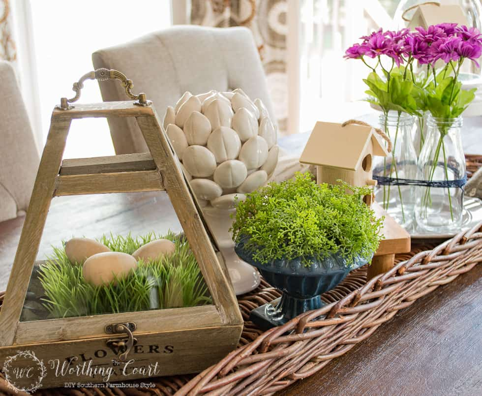 Spring centerpiece #springdecor #farmhouse #centerpiece