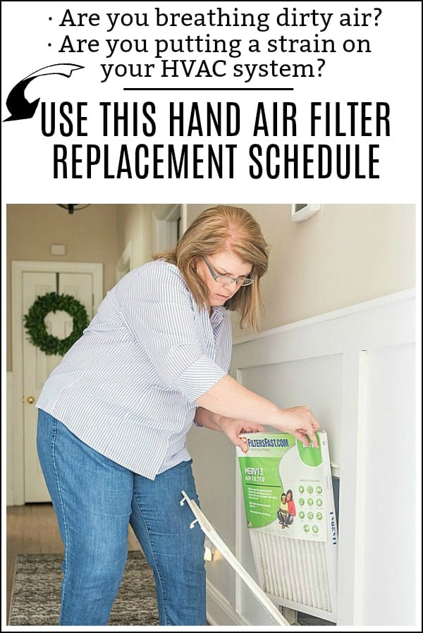 Handy schedule for when to replace the air filters in your home. #ad #filtersfast #homemaitenancechecklist #homemaintenance #checklist #tips #home #household