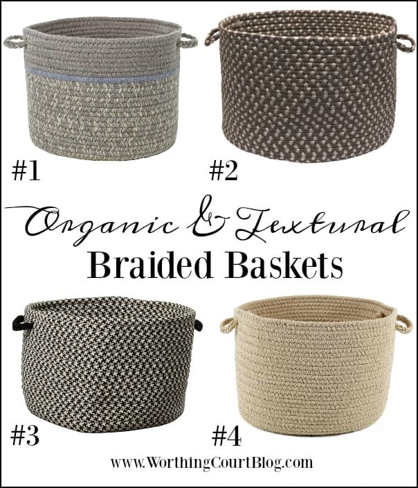 Organic and textural braided baskets available in multiple colors #baskets #roundbaskets #organic #texture #homedecorideas #modernfarmhouseideas #farmhousedecorideas #storageideas #organization