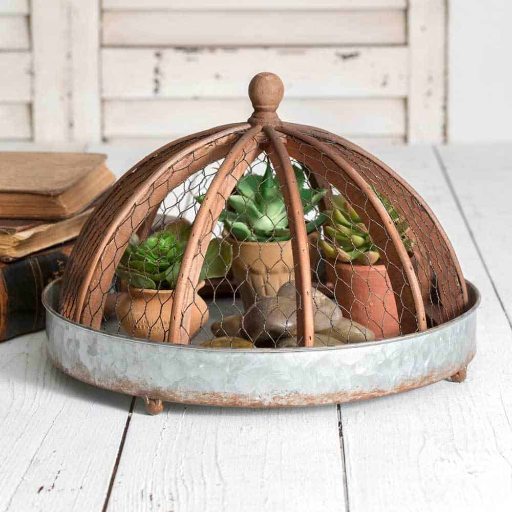Melanie Galvanized Round Tray with Wire and Wood Cloche #homedecorideas #decorideas #accessories