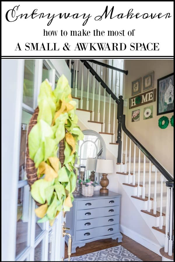Small and awkward entryway makeover reveal #entrywayideas #entryideas #foyerideas #makeover #smallspace #beforeandafter #diy #howto